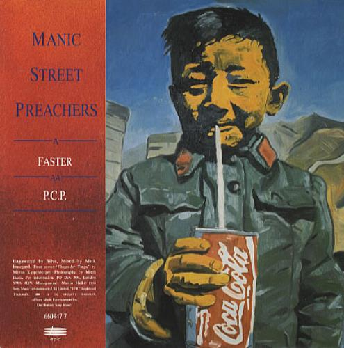 "Manic Street Preachers Faster/P.C.P. 7"" vinyl single (7 inch record) UK MAS07FA62757"
