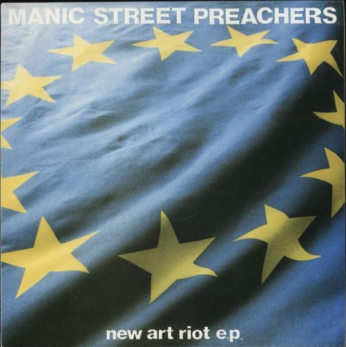 "Manic Street Preachers New Art Riot EP - Marbled Pink Vinyl 12"" vinyl single (12 inch record / Maxi-single) UK MAS12NE717894"