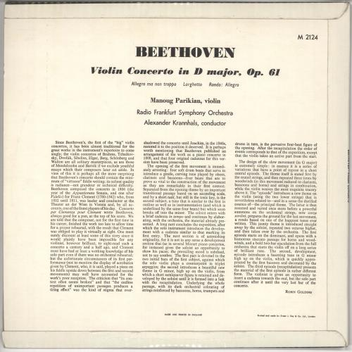 Manoug Parikian Beethoven: Violin Concerto in D Major, Op.61 vinyl LP album (LP record) UK QTNLPBE723474