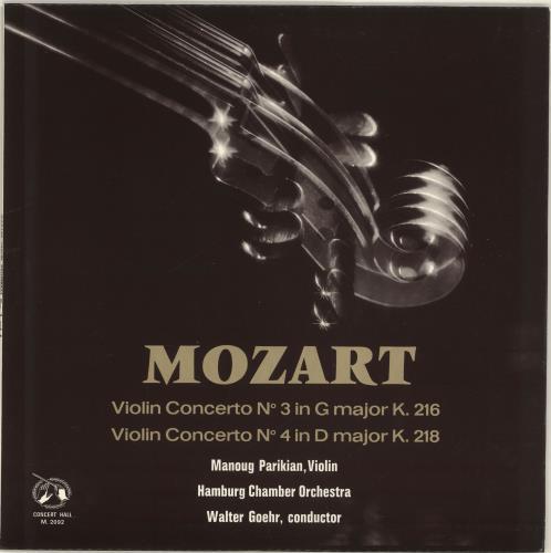 Manoug Parikian Mozart Violin Concertos vinyl LP album (LP record) UK QTNLPMO702067