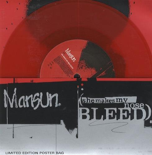 "Mansun She Makes My Nose Bleed - Red Vinyl - Poster Slv 7"" vinyl single (7 inch record) UK M-S07SH82327"