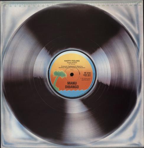 "Manu Dibango Happy Feeling 12"" vinyl single (12 inch record / Maxi-single) UK 3MD12HA710803"