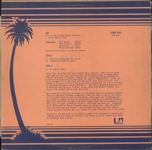 Man Live At The Padget Rooms Penarth vinyl LP album (LP record) UK M-NLPLI730627