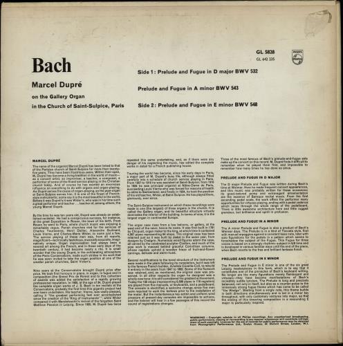 Marcel Dupré Bach Preludes And Fugues vinyl LP album (LP record) UK N88LPBA764741
