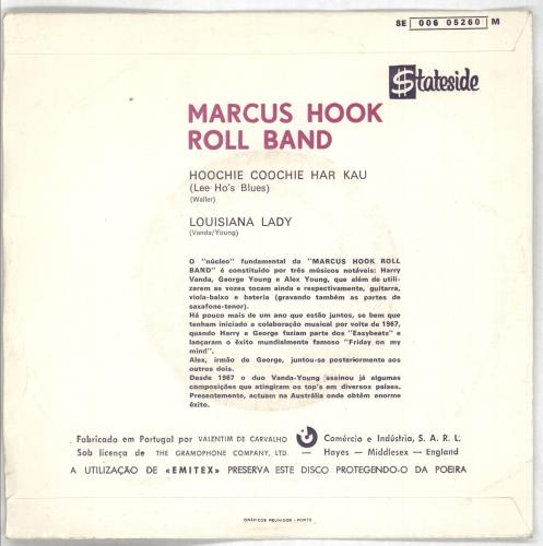 "Marcus Hook Roll Band Hoochie Coochie Har Kau (Lee Ho's Blues) 7"" vinyl single (7 inch record) Portugese N1207HO727728"