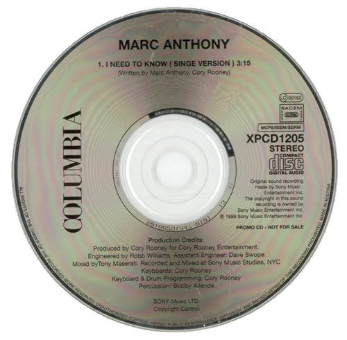 """Marc Anthony I Need To Know - Single Version CD single (CD5 / 5"""") Austrian MAHC5IN511411"""
