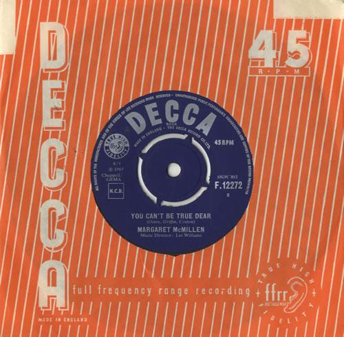 """Margaret McMillen You Can't Be True Dear 7"""" vinyl single (7 inch record) UK M4N07YO484548"""