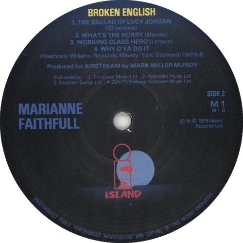 Marianne Faithfull Broken English - Blue Labels vinyl LP album (LP record) UK MRNLPBR705547