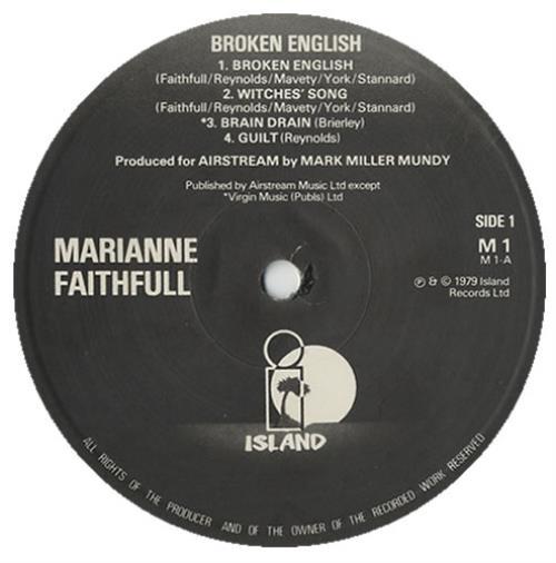 Marianne Faithfull Broken English - B/W Labels vinyl LP album (LP record) UK MRNLPBR216971