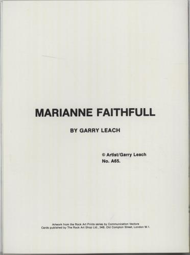 Marianne Faithfull Greeting Card memorabilia UK MRNMMGR675378