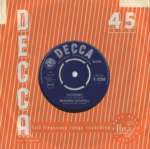 "Marianne Faithfull Yesterday 7"" vinyl single (7 inch record) UK MRN07YE520560"