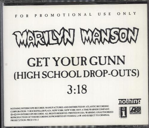 "Marilyn Manson Get You Gunn (High School Drop Outs) CD single (CD5 / 5"") US MYMC5GE81707"