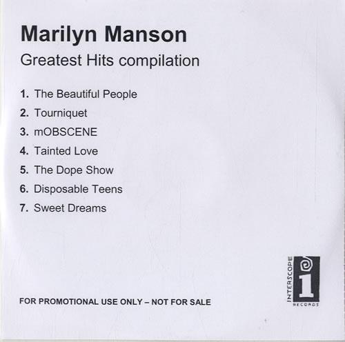 Marilyn Manson Greatest Hits Compilation CD-R acetate UK MYMCRGR584218
