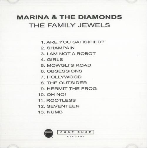 Marina & The Diamonds The Family Jewels CD-R acetate US M3UCRTH508776