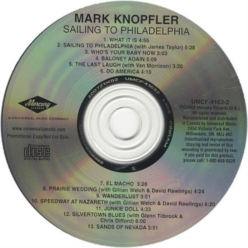 Mark Knopfler Sailing To Philadelphia Canadian Promo Cd