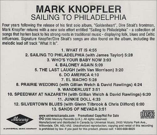 Mark Knopfler Sailing To Philadelphia Canadian Promo Cd
