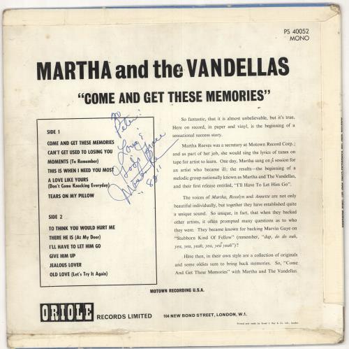 Martha Reeves & The Vandellas Come And Get These Memories - Autographed vinyl LP album (LP record) UK RVELPCO732395