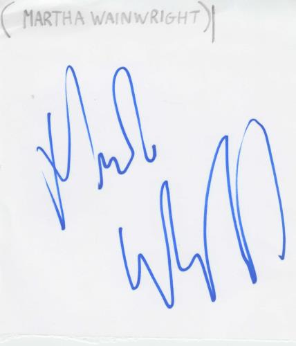 Martha Wainwright Autograph memorabilia UK MWAMMAU713549
