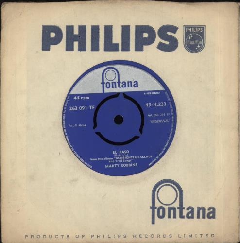 """Marty Robbins El Paso 7"""" vinyl single (7 inch record) UK M/R07EL420646"""