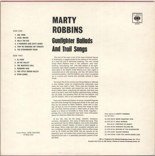 Marty Robbins Gunfighter Ballads And Trail Songs vinyl LP album (LP record) UK M/RLPGU565070
