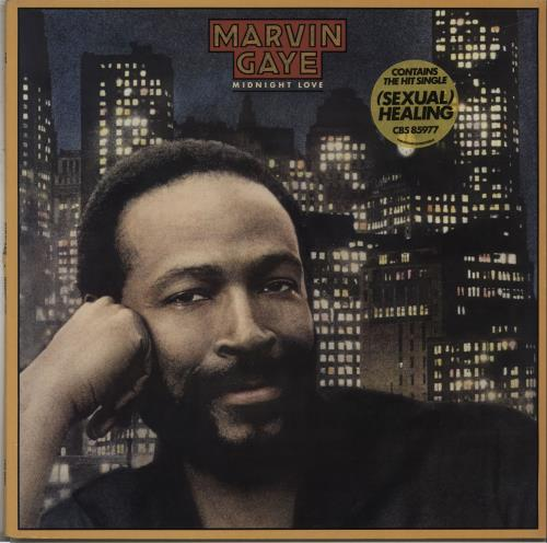 Marvin Gaye Midnight Love + Hype Stickered Sleeve vinyl LP album (LP record) UK MVGLPMI671950