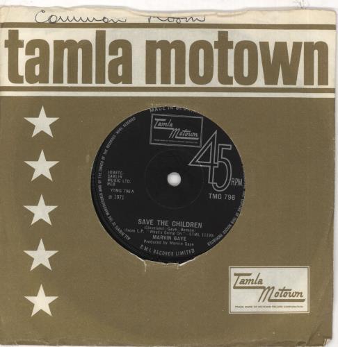 "Marvin Gaye Save The Children 7"" vinyl single (7 inch record) UK MVG07SA578758"