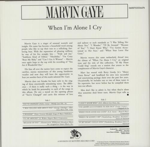 Marvin Gaye When I'm Alone I Cry vinyl LP album (LP record) US MVGLPWH681693