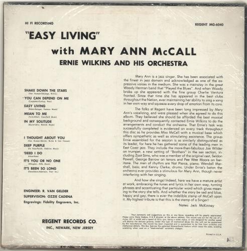 Mary Ann McCall Easy Living vinyl LP album (LP record) US N16LPEA700839