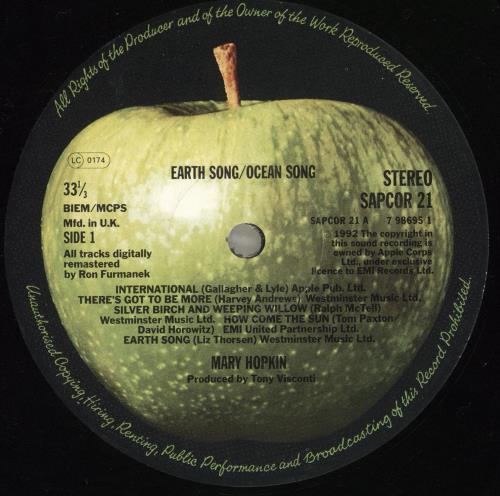 Mary Hopkin Earth Song/Ocean Song - 90s UK vinyl LP album (LP record)