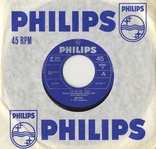 """Massiel La, La, La 7"""" vinyl single (7 inch record) UK M3L07LA483483"""