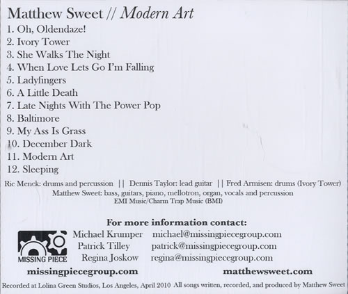 Matthew Sweet Modern Art Us Promo Cd Album Cdlp