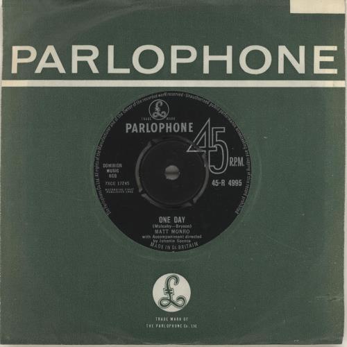 "Matt Monro One Day 7"" vinyl single (7 inch record) UK MTN07ON622136"