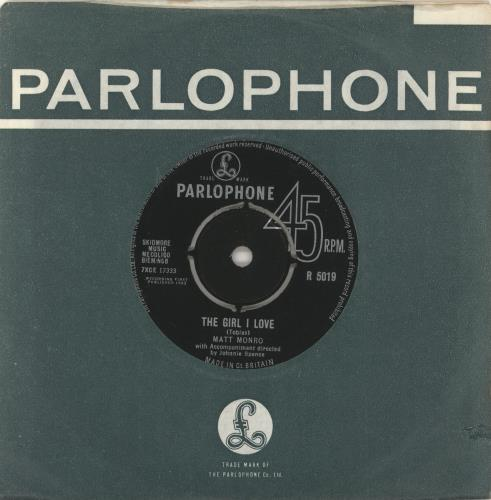 "Matt Monro The Girl I Love 7"" vinyl single (7 inch record) UK MTN07TH723278"