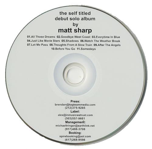 Matt Sharp Matt Sharp CD album (CDLP) US AT1CDMA492924