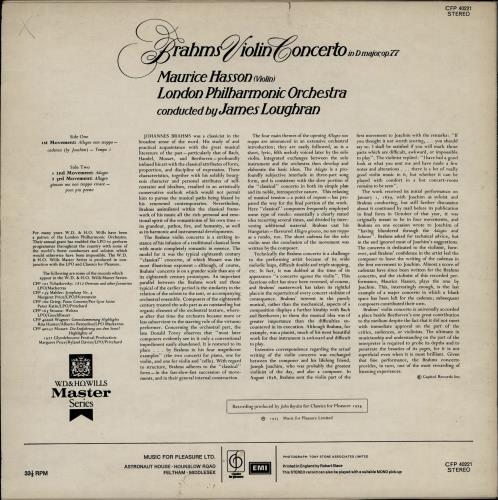 Maurice Hasson Brahms Violin Concerto vinyl LP album (LP record) UK 29WLPBR764417