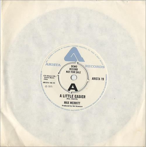 """Max Merritt A Little Easier 7"""" vinyl single (7 inch record) UK MXS07AL478691"""