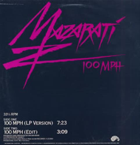 "Mazarati 100 MPH 12"" vinyl single (12 inch record / Maxi-single) US MZA12MP267380"