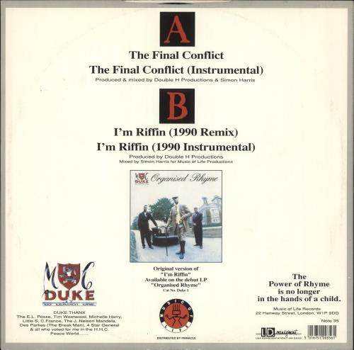 "MC Duke The Final Conflict / I'm Riffin' 1990 Remix 12"" vinyl single (12 inch record / Maxi-single) UK N6A12TH726359"