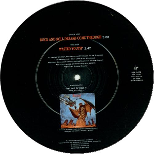 """Meat Loaf Rock & Roll Dreams Come Through 7"""" vinyl picture disc 7 inch picture disc single UK MEA7PRO58084"""