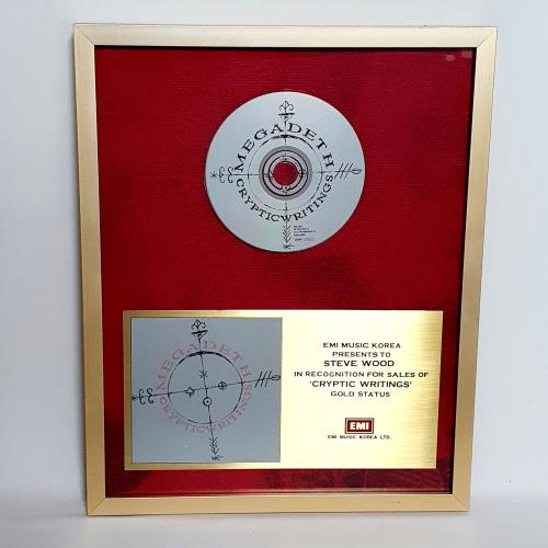 Megadeth Cryptic Writings in-house award disc Korean MEGAICR575129