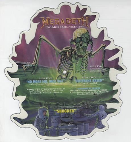 Megadeth No More Mr Nice Guy shaped picture disc (picture disc vinyl record) UK MEGSHNO41705