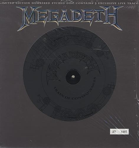 "Megadeth Train Of Consequences - Etched - Sealed 12"" vinyl single (12 inch record / Maxi-single) UK MEG12TR39239"
