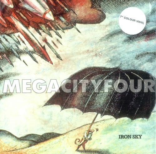 "Mega City Four Iron Sky - Aquamarine Vinyl 7"" vinyl single (7 inch record) UK MCF07IR520741"