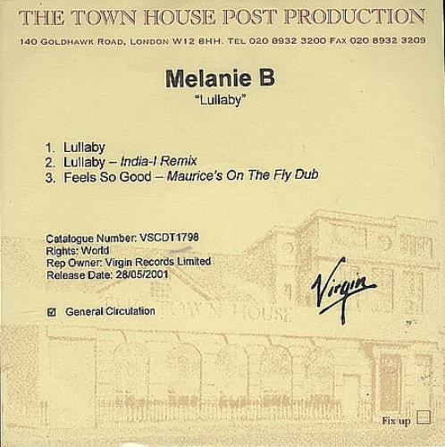 Melanie B Lullaby CD-R acetate UK M.BCRLU369305