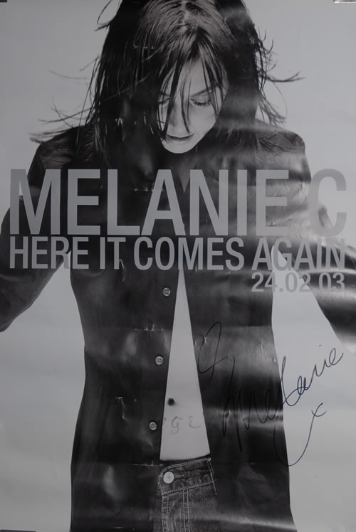 Melanie C Here It Comes Again - Autographed poster UK M.CPOHE575052