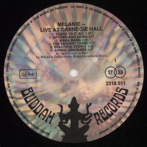 Melanie Live At Carnegie Hall vinyl LP album (LP record) German MLALPLI672510