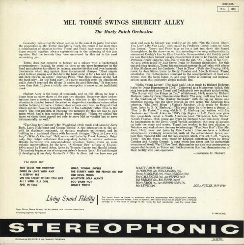 Mel Tormé Swings Shubert Alley vinyl LP album (LP record) French MT4LPSW677216