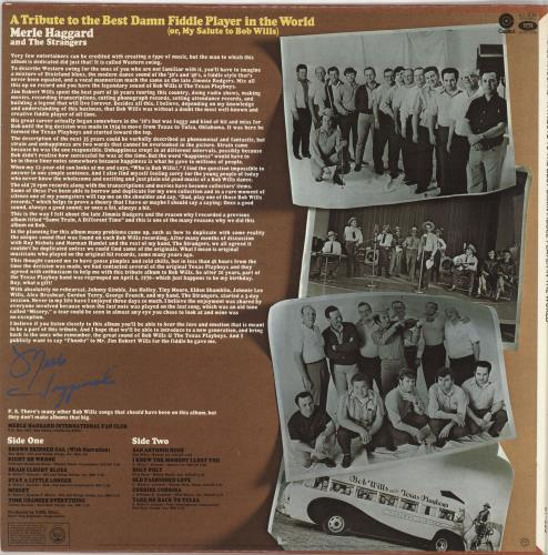 Merle Haggard A Tribute To The Best Damn Fiddle Player In The World vinyl LP album (LP record) US MBJLPAT725164