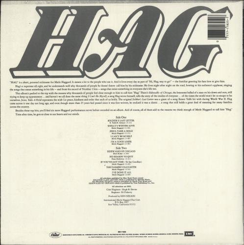 Merle Haggard HAG vinyl LP album (LP record) US MBJLPHA724924