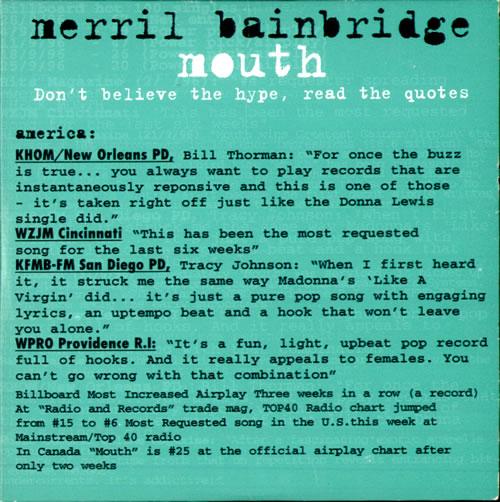 "Merril Bainbridge Mouth CD single (CD5 / 5"") UK MEIC5MO500304"